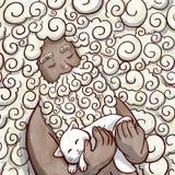 Zwarte die mens met haar en baard van wolken wordt gemaakt die een kat houden stock illustratie