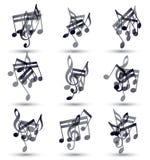 Zwarte die muzieknoten en symbolen op wit worden geïsoleerd Stock Foto's
