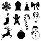 Zwarte die pictogrammen voor Kerstmis op witte achtergrond worden geplaatst royalty-vrije illustratie