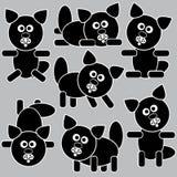 Zwarte die pictogrammenkatten op grijs worden geïsoleerd Stock Afbeeldingen