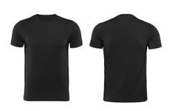 Zwarte die T-shirt op witte achtergrond met het knippen van weg wordt geïsoleerd stock foto