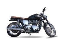 Zwarte die Triumph-motorfiets op wit wordt geïsoleerd Stock Fotografie