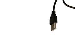 Zwarte die USB-kabel op witte achtergrond wordt geïsoleerd Royalty-vrije Stock Foto