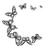 Zwarte die vlinder, op een wit wordt geïsoleerd Stock Foto's