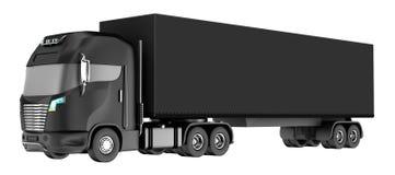 Zwarte die vrachtwagen met container op wit wordt geïsoleerd Mijn eigen ontwerp Stock Afbeelding