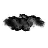 Zwarte die wolk of rook over witte achtergrond wordt geïsoleerd royalty-vrije stock afbeeldingen