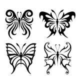Zwarte Dierlijke de tatoegering van de Insectvlinder en van het silhouettenpictogram Vector royalty-vrije stock foto's