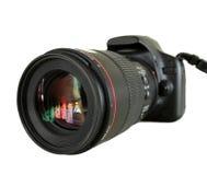 Zwarte digitale camera die op witte achtergrond wordt geïsoleerd Stock Afbeeldingen