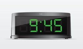 Zwarte digitale wekker. Vectorillustratie Stock Afbeelding