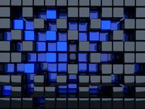 Zwarte dozen en blauwe kuilen Royalty-vrije Stock Fotografie