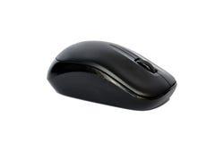Zwarte draadloze computermuis die op wit wordt geïsoleerdr Stock Afbeelding