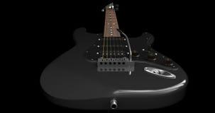 Zwarte elektrische gitaar Stock Afbeelding