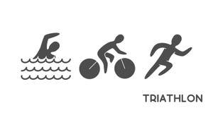 Zwarte embleemtriatlon en cijfers triathletes Royalty-vrije Stock Afbeelding