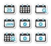Geplaatste de datumpictogrammen van de kalender Stock Afbeelding
