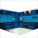 Zwarte en blauwe keuken stock illustratie