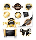 Zwarte en de Inzameling van het Etiket van Kerstmis Glod Stock Afbeelding