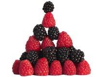 Zwarte en de Stapel van de Piramide Rasberry Stock Afbeelding