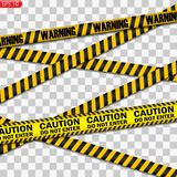 Zwarte en gele geïsoleerde voorzichtigheidslijnen royalty-vrije illustratie