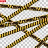 Zwarte en gele geïsoleerde voorzichtigheidslijnen stock illustratie