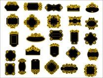 Zwarte en gele grenzen of kaders Royalty-vrije Stock Afbeeldingen