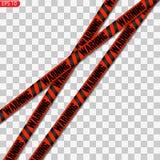 Zwarte en gele en rode geïsoleerde voorzichtigheidslijnen royalty-vrije illustratie