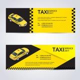 Zwarte en gele taxikaart met het beeld van de taxiauto - Vectorillustratie Stock Foto's