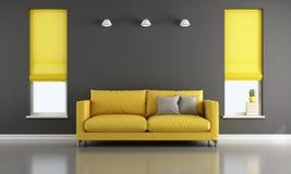 Zwarte en gele woonkamer Stock Foto