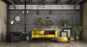 Zwarte en gele woonkamer in een zolder Stock Afbeeldingen
