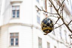 Zwarte en goud geschilderd paasei op de boom Stock Afbeelding