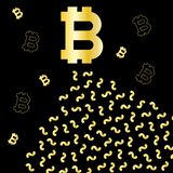 Zwarte en gouden achtergrond met Bitcoin-muntpictogrammen stock illustratie