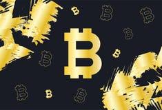 Zwarte en gouden achtergrond met Bitcoin-muntpictogrammen vector illustratie