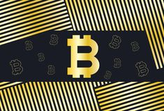 Zwarte en gouden achtergrond met Bitcoin-muntpictogrammen Vector IL vector illustratie
