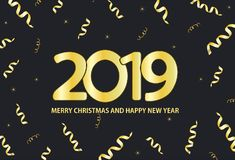 Zwarte en gouden achtergrond met inschrijvings 2019 Vrolijke Kerstmis royalty-vrije illustratie