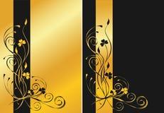 Zwarte en gouden bloemenachtergronden Royalty-vrije Stock Foto
