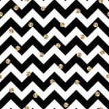 Zwarte en Gouden Chevron en Polka Dots Seamless Pattern vector illustratie