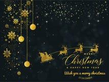 Zwarte en Gouden Kerstmisachtergrond met Tekst Vrolijke Kerstmis vector illustratie