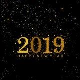 Zwarte en gouden 2019 Nieuwjaarcijfers stock illustratie