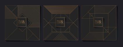 Zwarte en Gouden Patroonachtergrond stock illustratie