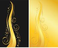 Zwarte en gouden sierachtergronden Stock Foto's