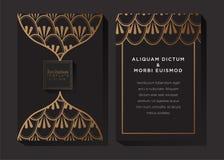 Zwarte en Gouden Uitnodigingsachtergrond vector illustratie