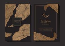 Zwarte en Gouden Uitnodigingsachtergrond royalty-vrije illustratie
