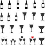 Zwarte en grijze fles en bocal - vastgestelde pictogrammen Stock Foto