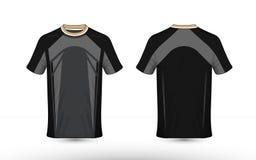 Zwarte en grijze lay-out e-sport t-shirtontwerpsjabloon stock afbeeldingen