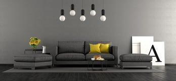Zwarte en grijze woonkamer Stock Foto