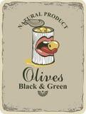Zwarte en groene olijven stock illustratie
