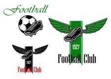 Zwarte en groene voetbal of voetbalemblemen Stock Foto