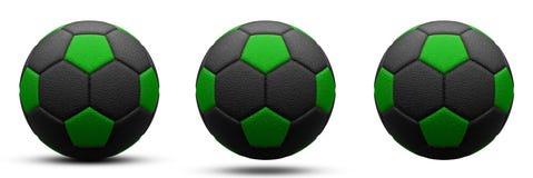 Zwarte en groene voetbalbal in drie versies, met en zonder schaduw Geïsoleerd op wit 3d geef terug royalty-vrije stock afbeelding