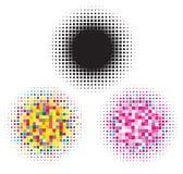 Zwarte en kleurrijke halftone elementen Vector Illustratie