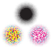 Zwarte en kleurrijke halftone elementen Stock Fotografie