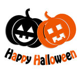 Zwarte en oranje pompoenen voor Halloween Royalty-vrije Stock Foto's